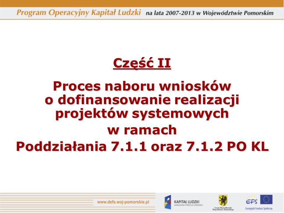 Część II Proces naboru wniosków o dofinansowanie realizacji projektów systemowych w ramach Poddziałania 7.1.1 oraz 7.1.2 PO KL
