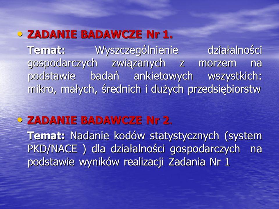 ZADANIE BADAWCZE Nr 1. ZADANIE BADAWCZE Nr 1. Temat: Wyszczególnienie działalności gospodarczych związanych z morzem na podstawie badań ankietowych ws