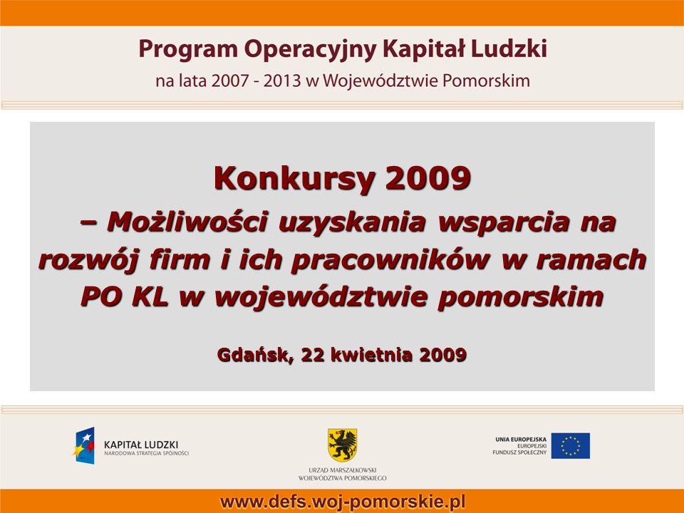 Konkursy 2009 – Możliwości uzyskania wsparcia na rozwój firm i ich pracowników w ramach PO KL w województwie pomorskim Gdańsk, 22 kwietnia 2009