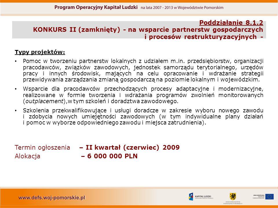 Poddziałanie 8.1.2 KONKURS II (zamknięty) - na wsparcie partnerstw gospodarczych i procesów restrukturyzacyjnych - Typy projektów: Pomoc w tworzeniu partnerstw lokalnych z udziałem m.in.