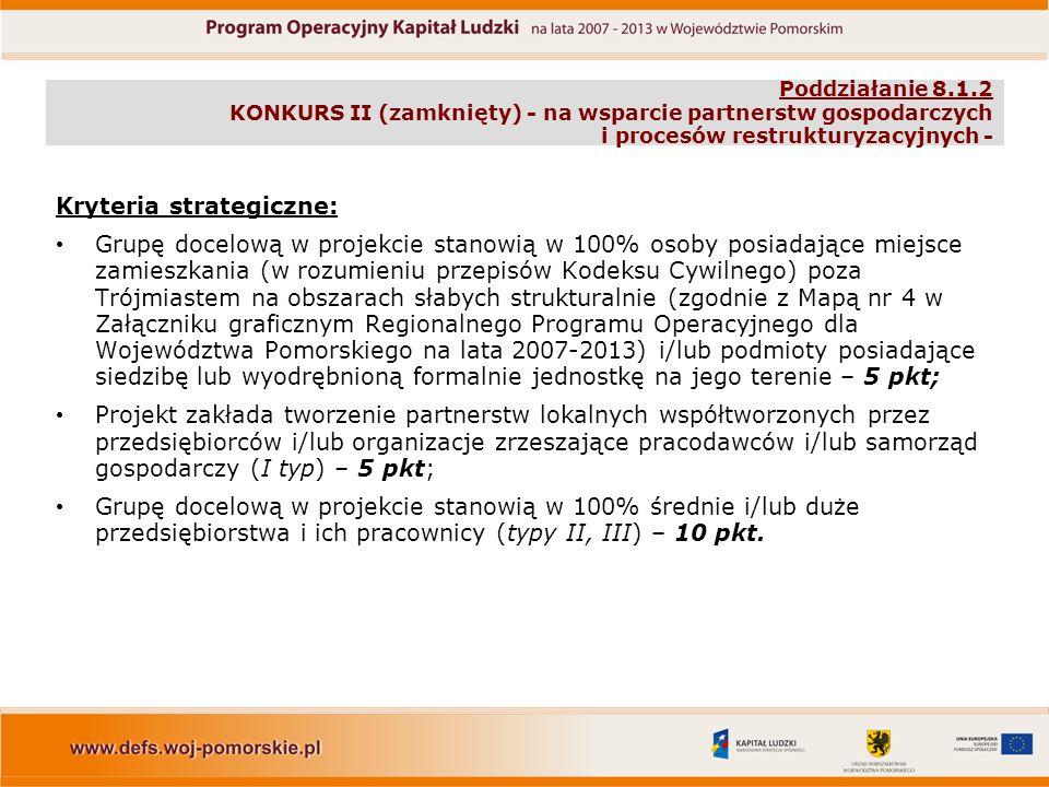 Poddziałanie 8.1.2 KONKURS II (zamknięty) - na wsparcie partnerstw gospodarczych i procesów restrukturyzacyjnych - Kryteria strategiczne: Grupę docelową w projekcie stanowią w 100% osoby posiadające miejsce zamieszkania (w rozumieniu przepisów Kodeksu Cywilnego) poza Trójmiastem na obszarach słabych strukturalnie (zgodnie z Mapą nr 4 w Załączniku graficznym Regionalnego Programu Operacyjnego dla Województwa Pomorskiego na lata 2007-2013) i/lub podmioty posiadające siedzibę lub wyodrębnioną formalnie jednostkę na jego terenie – 5 pkt; Projekt zakłada tworzenie partnerstw lokalnych współtworzonych przez przedsiębiorców i/lub organizacje zrzeszające pracodawców i/lub samorząd gospodarczy (I typ) – 5 pkt; Grupę docelową w projekcie stanowią w 100% średnie i/lub duże przedsiębiorstwa i ich pracownicy (typy II, III) – 10 pkt.