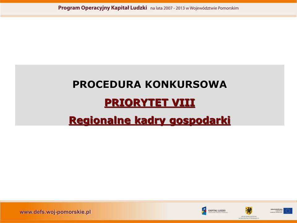 PROCEDURA KONKURSOWA PRIORYTET VIII Regionalne kadry gospodarki