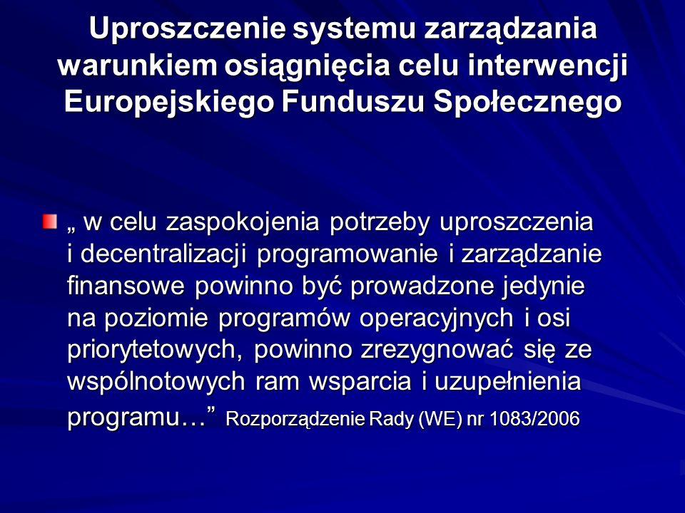 Uproszczenie systemu zarządzania warunkiem osiągnięcia celu interwencji Europejskiego Funduszu Społecznego w celu zaspokojenia potrzeby uproszczenia i decentralizacji programowanie i zarządzanie finansowe powinno być prowadzone jedynie na poziomie programów operacyjnych i osi priorytetowych, powinno zrezygnować się ze wspólnotowych ram wsparcia i uzupełnienia programu… Rozporządzenie Rady (WE) nr 1083/2006 w celu zaspokojenia potrzeby uproszczenia i decentralizacji programowanie i zarządzanie finansowe powinno być prowadzone jedynie na poziomie programów operacyjnych i osi priorytetowych, powinno zrezygnować się ze wspólnotowych ram wsparcia i uzupełnienia programu… Rozporządzenie Rady (WE) nr 1083/2006