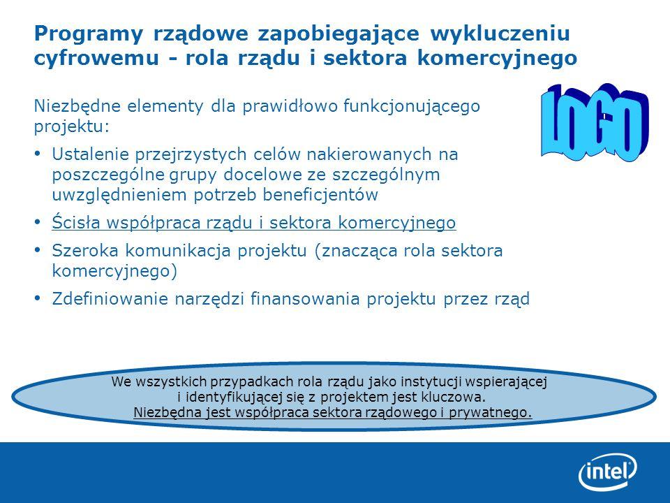 Programy rządowe zapobiegające wykluczeniu cyfrowemu - rola rządu i sektora komercyjnego Niezbędne elementy dla prawidłowo funkcjonującego projektu: U