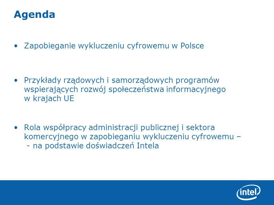 Zapobieganie wykluczeniu cyfrowemu w Polsce – stan na dziś PIP skupia się głównie na informatyzacji administracji publicznej: Potrzeba zbudowania programu dla ludności który zapewni jej komputery w domach w celu korzystania z usług e-adminstracji Niski poziom korzystania z Internetu wynika z relatywnie wysokich kosztów zakupu komputera w stosunku do płacy minimalnej i średniej w Polsce Brak możliwości dostępu do Internetu wymieniane są na drugim miejscu Budowanie Społeczeństwa informacyjnego to nie tylko budowanie usług w obszarze e-administracji ale RÓWNIEŻ budowanie zaplecza komputerowego wśród obywateli Proponowane kierunki rozwoju społeczeństwa informacyjnego w Polsce do 2020, Ministerstwo Nauki i Informatyzacji, 2004, str.11.