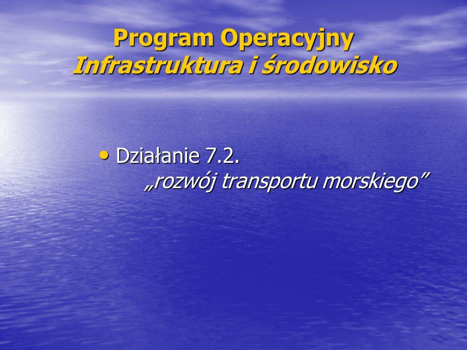 Program Operacyjny Infrastruktura i środowisko Działanie 7.2. rozwój transportu morskiego Działanie 7.2. rozwój transportu morskiego