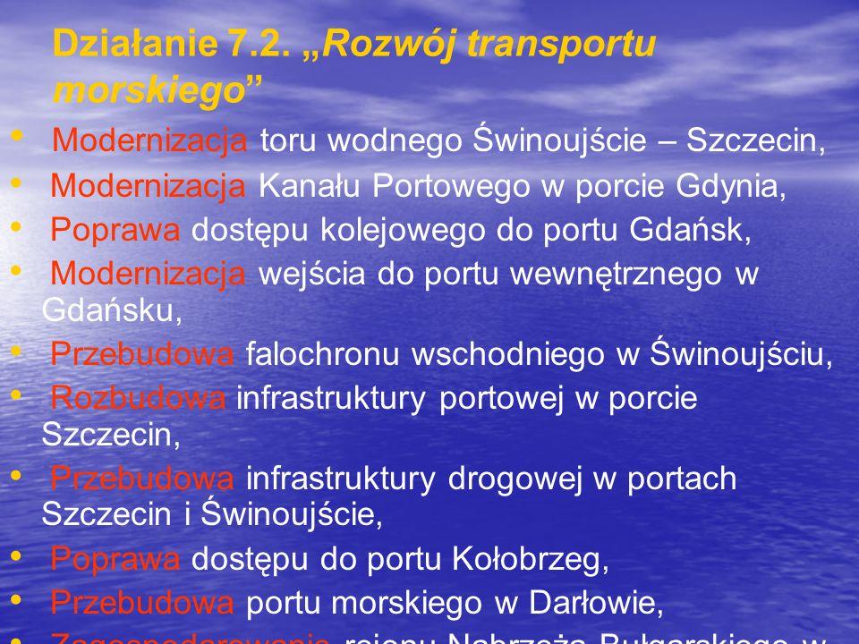 Działanie 7.2. Rozwój transportu morskiego Modernizacja toru wodnego Świnoujście – Szczecin, Modernizacja Kanału Portowego w porcie Gdynia, Poprawa do