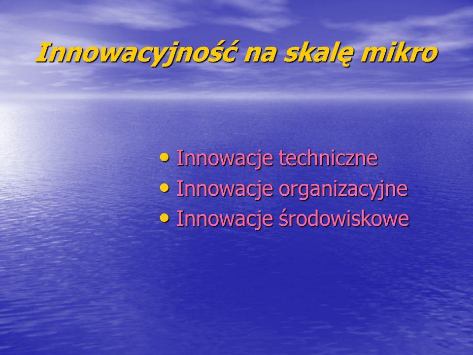 Innowacyjność na skalę mikro Innowacje techniczne Innowacje techniczne Innowacje organizacyjne Innowacje organizacyjne Innowacje środowiskowe Innowacj