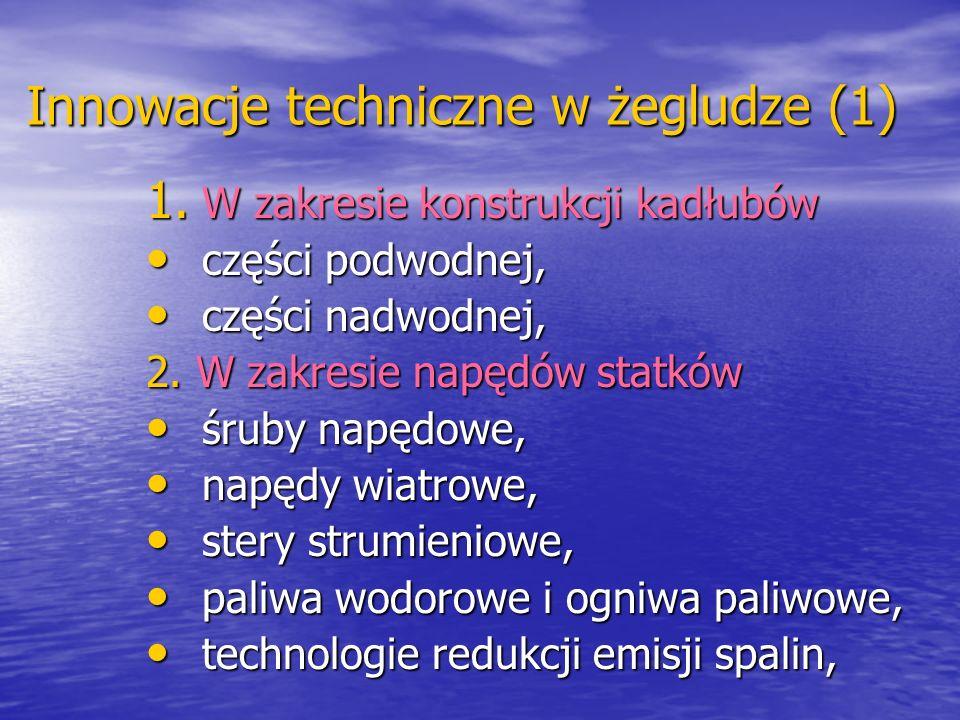 Innowacje techniczne w żegludze (1) 1. W zakresie konstrukcji kadłubów części podwodnej, części podwodnej, części nadwodnej, części nadwodnej, 2. W za