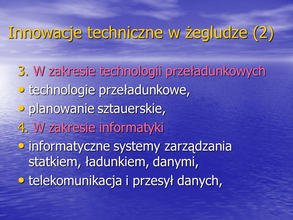 Innowacje techniczne w żegludze (2) 3. W zakresie technologii przeładunkowych technologie przeładunkowe, technologie przeładunkowe, planowanie sztauer