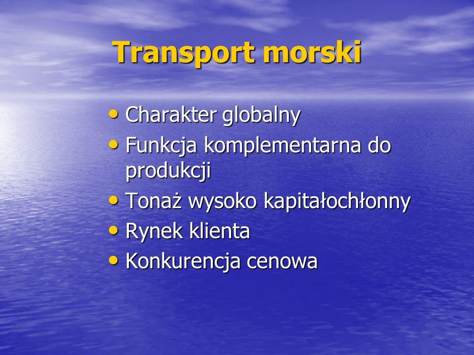 Transport morski Charakter globalny Charakter globalny Funkcja komplementarna do produkcji Funkcja komplementarna do produkcji Tonaż wysoko kapitałoch