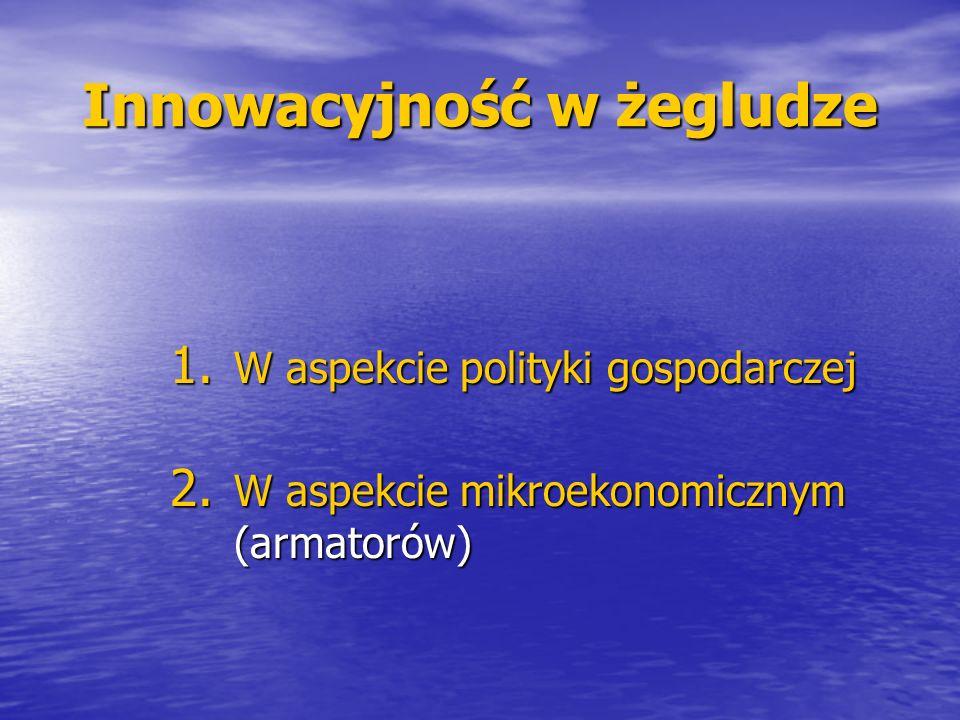 Innowacyjność w żegludze 1. W aspekcie polityki gospodarczej 2. W aspekcie mikroekonomicznym (armatorów)