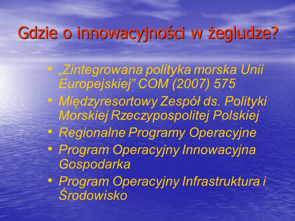 Gdzie o innowacyjności w żegludze? Zintegrowana polityka morska Unii Europejskiej COM (2007) 575 Międzyresortowy Zespół ds. Polityki Morskiej Rzeczypo
