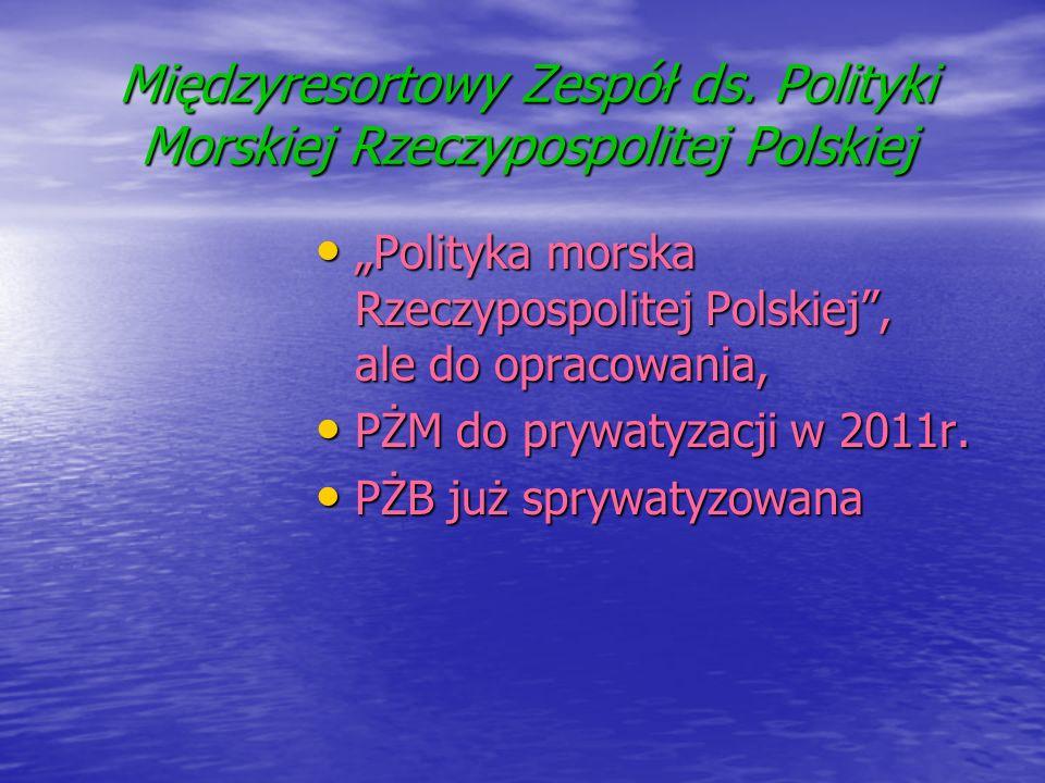 Międzyresortowy Zespół ds. Polityki Morskiej Rzeczypospolitej Polskiej Polityka morska Rzeczypospolitej Polskiej, ale do opracowania, Polityka morska