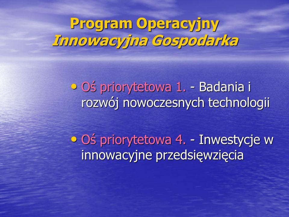 Program Operacyjny Innowacyjna Gospodarka Oś priorytetowa 1. - Badania i rozwój nowoczesnych technologii Oś priorytetowa 1. - Badania i rozwój nowocze