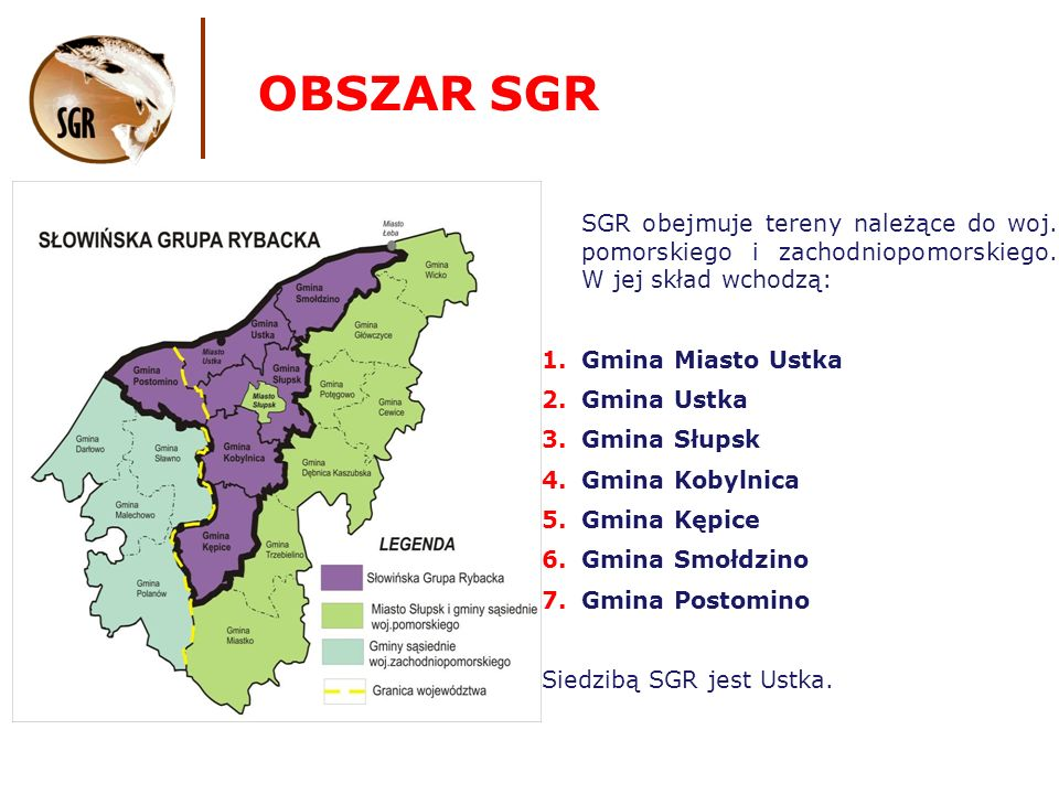 OBSZAR SGR powierzchnia gmin wchodzących w skład SGR to 1513 km2, ludność wg.