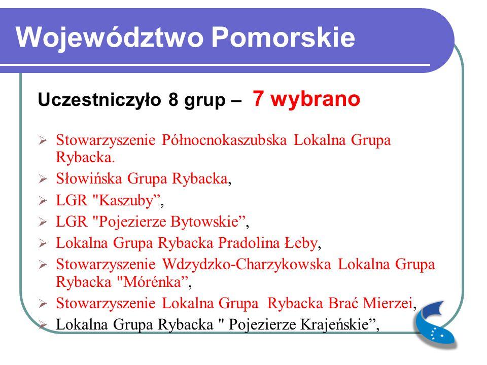 Województwo Pomorskie Uczestniczyło 8 grup – 7 wybrano Stowarzyszenie Północnokaszubska Lokalna Grupa Rybacka.