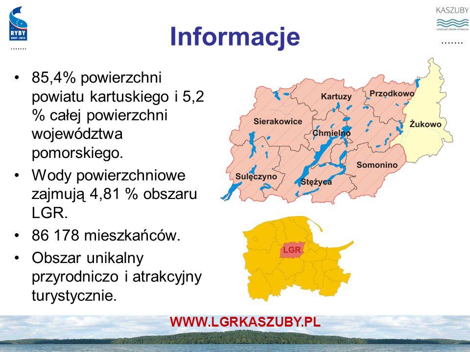 WWW.LGRKASZUBY.PL Informacje 85,4% powierzchni powiatu kartuskiego i 5,2 % całej powierzchni województwa pomorskiego. Wody powierzchniowe zajmują 4,81