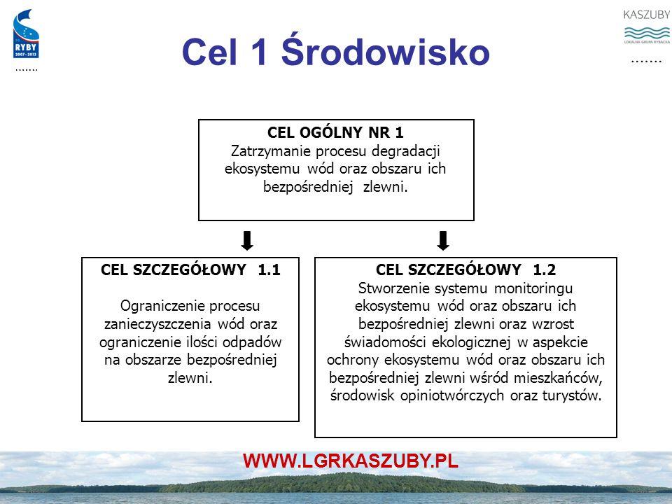 WWW.LGRKASZUBY.PL Cel 1 Środowisko CEL OGÓLNY NR 1 Zatrzymanie procesu degradacji ekosystemu wód oraz obszaru ich bezpośredniej zlewni. CEL SZCZEGÓŁOW
