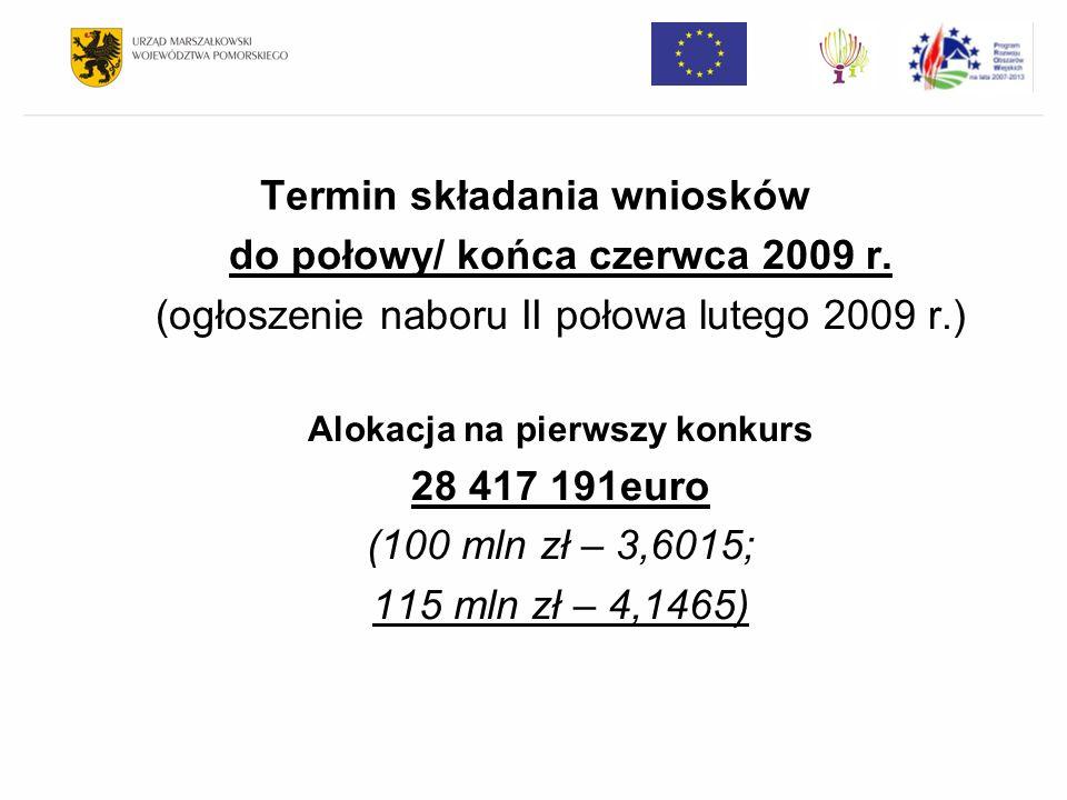 Termin składania wniosków do połowy/ końca czerwca 2009 r. (ogłoszenie naboru II połowa lutego 2009 r.) Alokacja na pierwszy konkurs 28 417 191euro (1