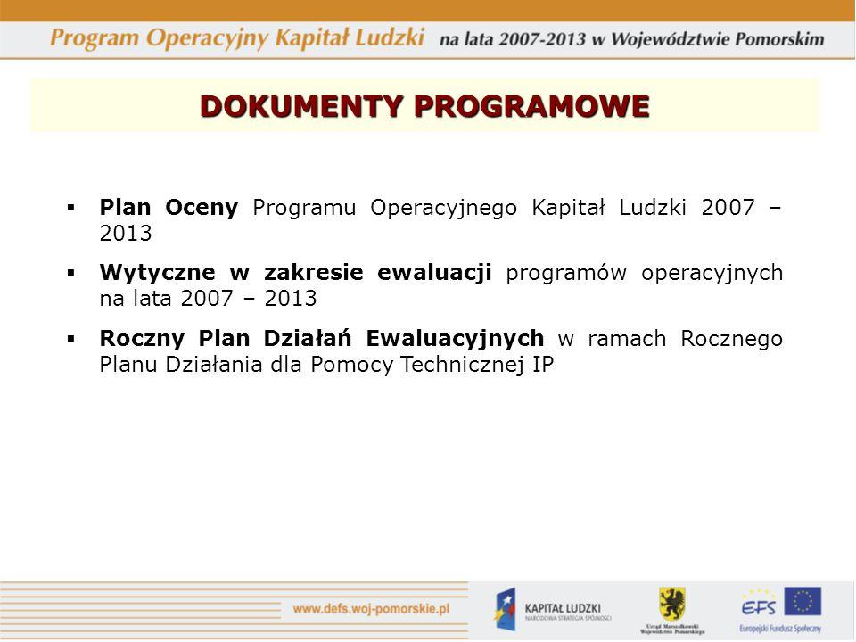 DOKUMENTY PROGRAMOWE Plan Oceny Programu Operacyjnego Kapitał Ludzki 2007 – 2013 Wytyczne w zakresie ewaluacji programów operacyjnych na lata 2007 – 2