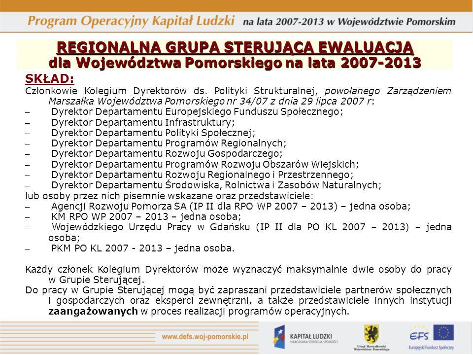 REGIONALNA GRUPA STERUJĄCA EWALUACJĄ dla Województwa Pomorskiego na lata 2007-2013 SKŁAD: Członkowie Kolegium Dyrektorów ds. Polityki Strukturalnej, p