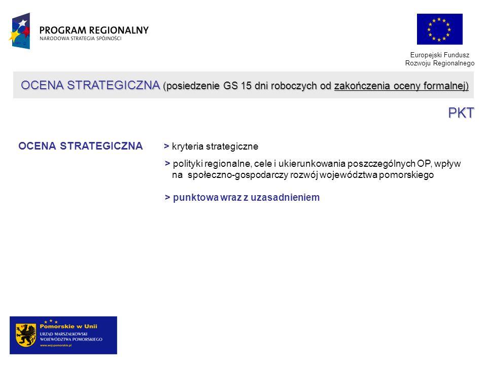 Europejski Fundusz Rozwoju Regionalnego OCENA STRATEGICZNA (posiedzenie GS 15 dni roboczych od zakończenia oceny formalnej) PKT OCENA STRATEGICZNA > k