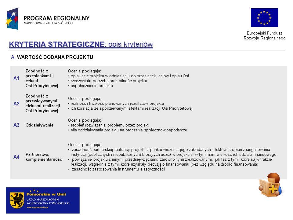 KRYTERIA STRATEGICZNE: opis kryteriów Ocenie podlegają: zasadność partnerskiej realizacji projektu z punktu widzenia jego zakładanych efektów, stopień
