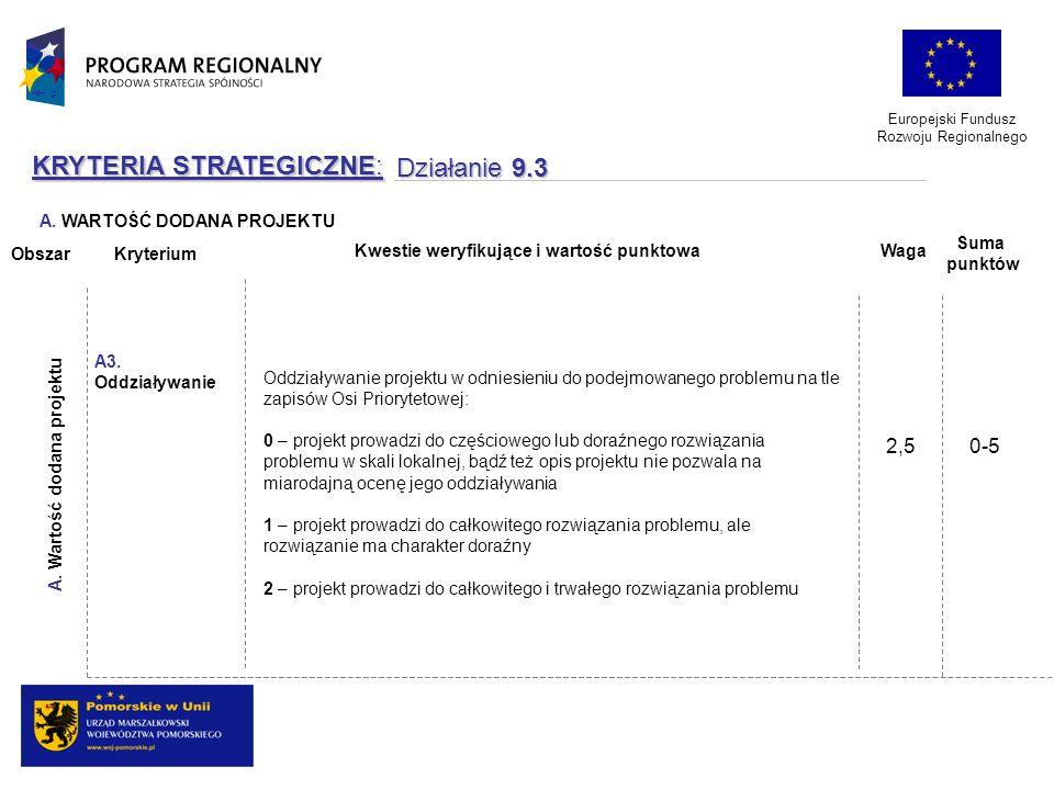 Europejski Fundusz Rozwoju Regionalnego KRYTERIA STRATEGICZNE: Działanie 9.3 Oddziaływanie projektu w odniesieniu do podejmowanego problemu na tle zap