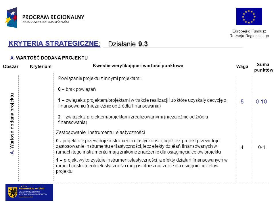 Europejski Fundusz Rozwoju Regionalnego KRYTERIA STRATEGICZNE: Działanie 9.3 Działanie 9.3 Powiązanie projektu z innymi projektami: 0 – brak powiązań