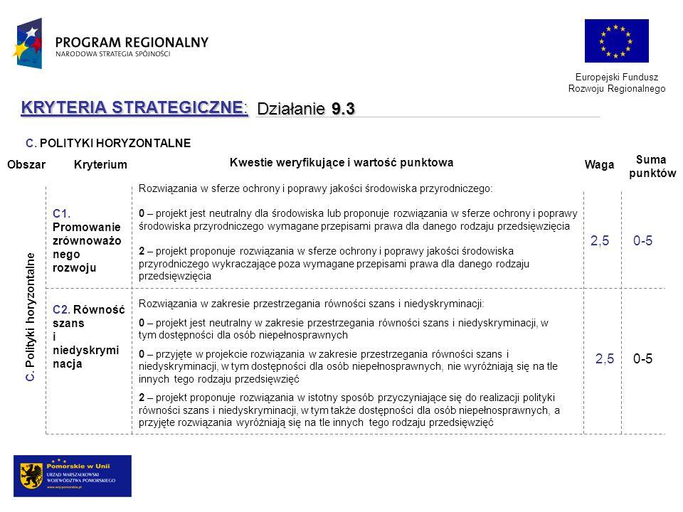Europejski Fundusz Rozwoju Regionalnego KRYTERIA STRATEGICZNE: Działanie 9.3 Rozwiązania w sferze ochrony i poprawy jakości środowiska przyrodniczego: