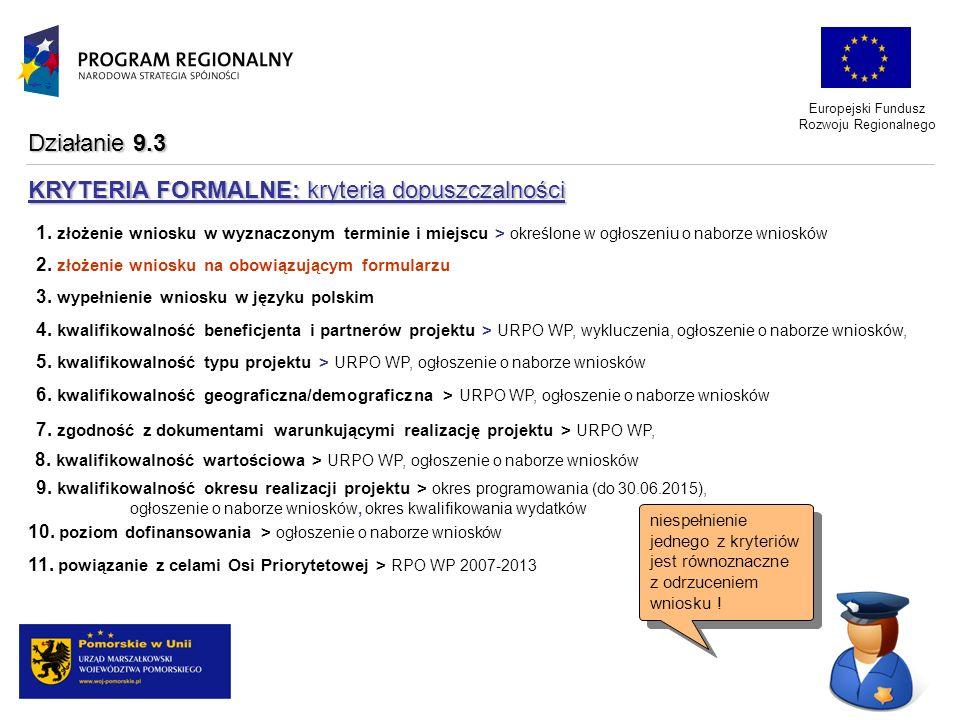 Europejski Fundusz Rozwoju Regionalnego 1. złożenie wniosku w wyznaczonym terminie i miejscu > określone w ogłoszeniu o naborze wniosków 2. złożenie w