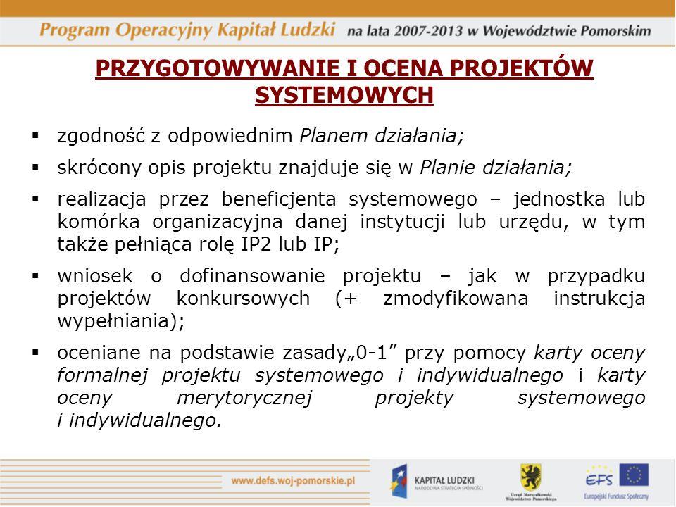 PRZYGOTOWYWANIE I OCENA PROJEKTÓW SYSTEMOWYCH zgodność z odpowiednim Planem działania; skrócony opis projektu znajduje się w Planie działania; realiza