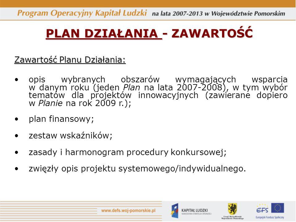PLAN DZIAŁANIA - ZAWARTOŚĆ Zawartość Planu Działania: opis wybranych obszarów wymagających wsparcia w danym roku (jeden Plan na lata 2007-2008), w tym