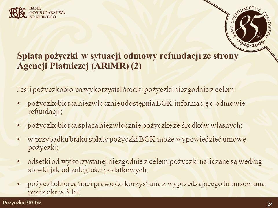 24 Pożyczka PROW Spłata pożyczki w sytuacji odmowy refundacji ze strony Agencji Płatniczej (ARiMR) (2) Jeśli pożyczkobiorca wykorzystał środki pożyczk