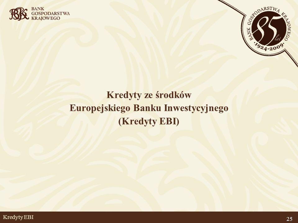 25 Kredyty EBI Kredyty ze środków Europejskiego Banku Inwestycyjnego (Kredyty EBI)
