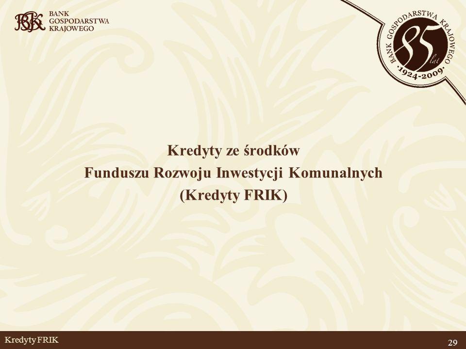 29 Kredyty FRIK Kredyty ze środków Funduszu Rozwoju Inwestycji Komunalnych (Kredyty FRIK)