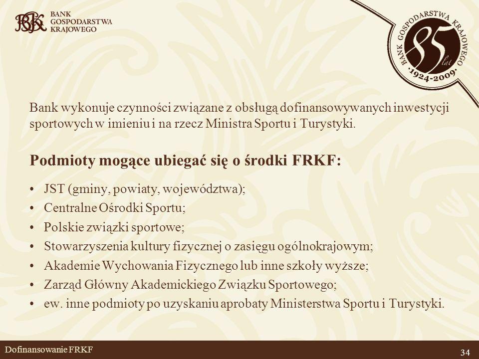 34 Dofinansowanie FRKF Bank wykonuje czynności związane z obsługą dofinansowywanych inwestycji sportowych w imieniu i na rzecz Ministra Sportu i Turys