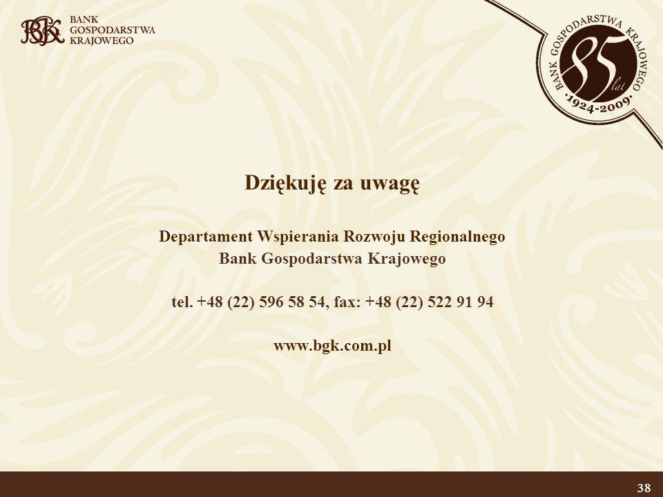 38 Dziękuję za uwagę Departament Wspierania Rozwoju Regionalnego Bank Gospodarstwa Krajowego tel. +48 (22) 596 58 54, fax: +48 (22) 522 91 94 www.bgk.