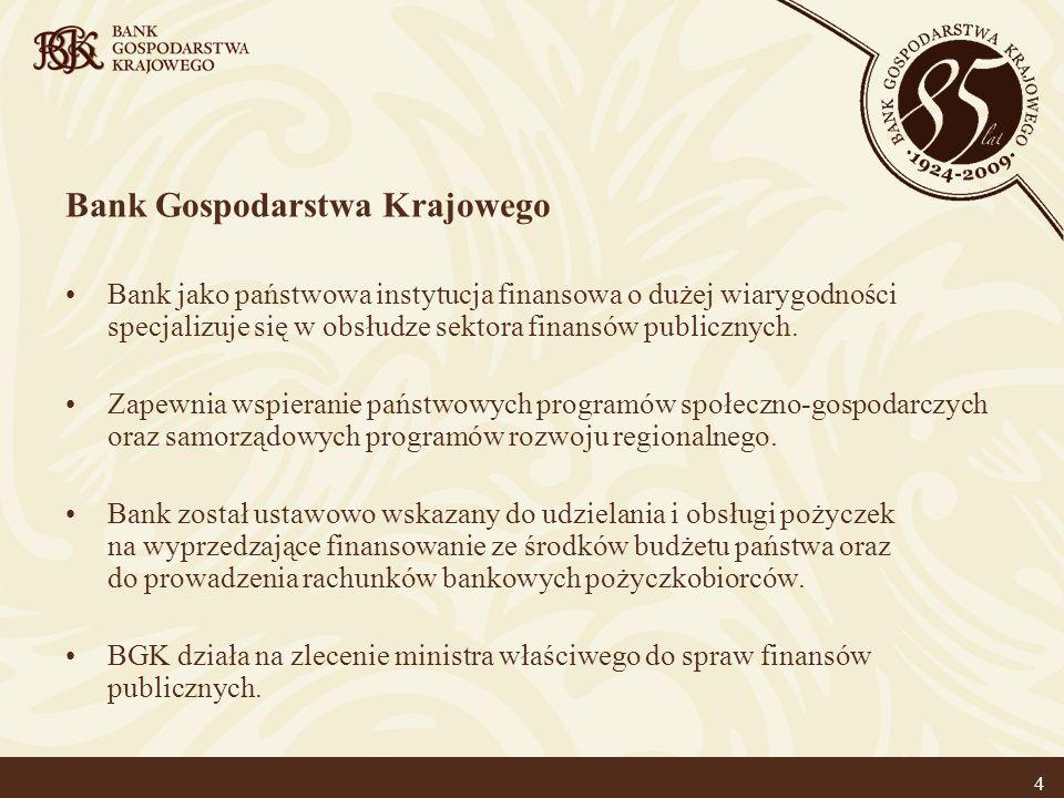 4 Bank Gospodarstwa Krajowego Bank jako państwowa instytucja finansowa o dużej wiarygodności specjalizuje się w obsłudze sektora finansów publicznych.