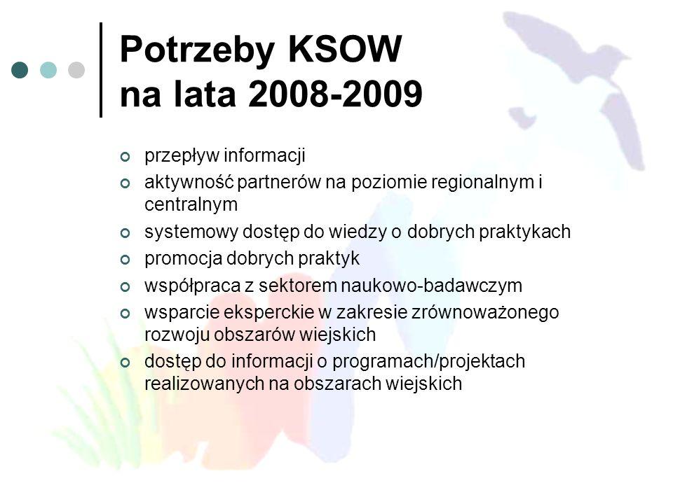 Potrzeby KSOW na lata 2008-2009 przepływ informacji aktywność partnerów na poziomie regionalnym i centralnym systemowy dostęp do wiedzy o dobrych prak