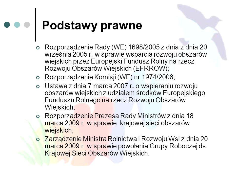 Podstawy prawne Rozporządzenie Rady (WE) 1698/2005 z dnia z dnia 20 września 2005 r. w sprawie wsparcia rozwoju obszarów wiejskich przez Europejski Fu
