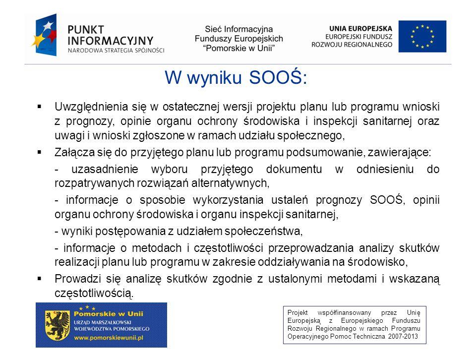 Projekt współfinansowany przez Unię Europejską z Europejskiego Funduszu Rozwoju Regionalnego w ramach Programu Operacyjnego Pomoc Techniczna 2007-2013 Projekt programu Uzgodnienie zakresu prognozy Zatwierdzenie programu Opinia o braku konieczności Wykonania SOOŚ Opracowanie prognozy Zatwierdzenie Programu po uwzględnieniu wniosków z SOOŚ Sporządzenie podsumowania SOOŚ Zapewnie udziału społeczeństwa Opiniowanie przez organy współdziałające