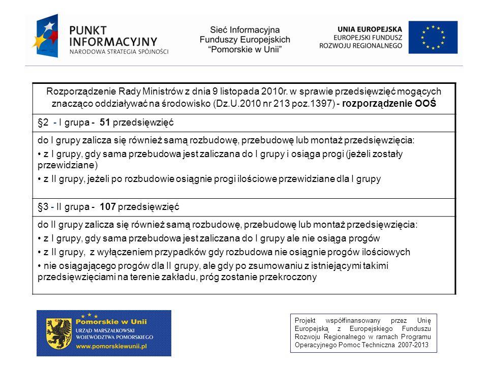 Projekt współfinansowany przez Unię Europejską z Europejskiego Funduszu Rozwoju Regionalnego w ramach Programu Operacyjnego Pomoc Techniczna 2007-2013 Ocena oddziaływania na środowisko przedsięwzięć (OOŚ) PRZEPROWADZENIA POSTĘPOWANIA W SPRAWIE DECYZJI O ŚRODOWISKOWYCH UWARUNKOWANIACH WYMAGA REALIZACJA (art.