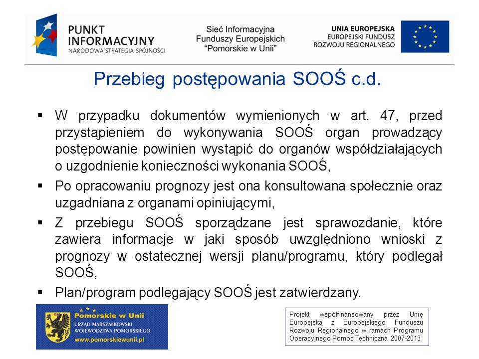 Projekt współfinansowany przez Unię Europejską z Europejskiego Funduszu Rozwoju Regionalnego w ramach Programu Operacyjnego Pomoc Techniczna 2007-2013 Przebieg postępowania SOOŚ c.d.