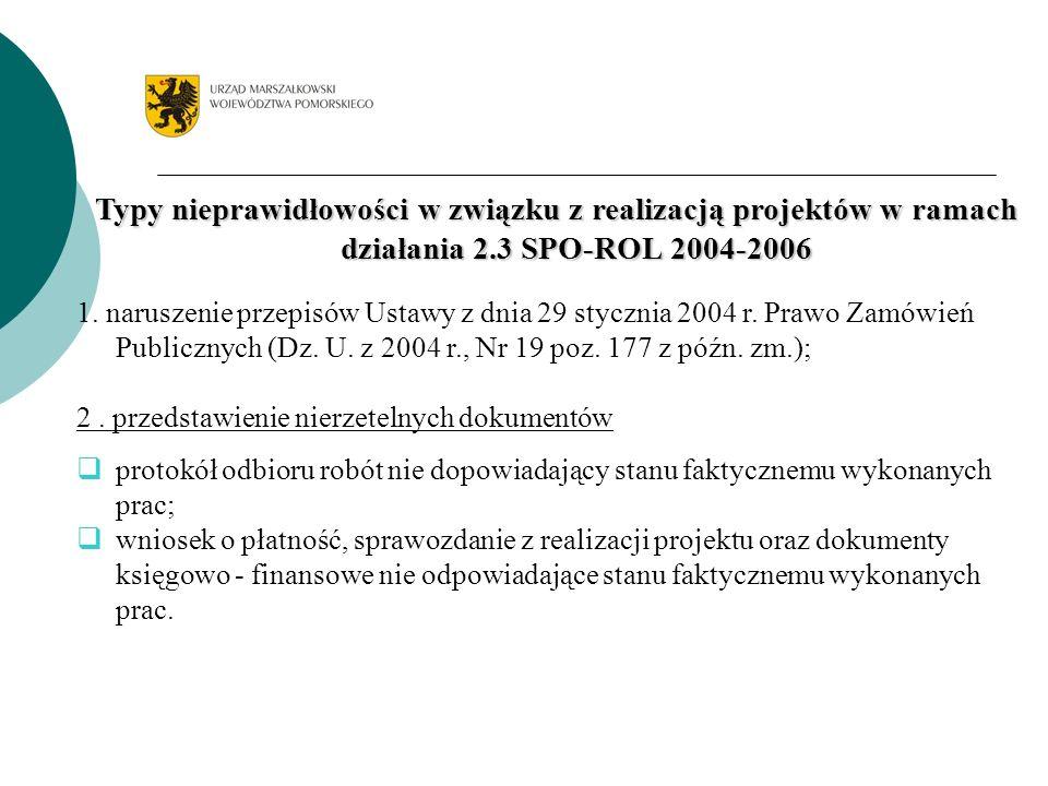Typy nieprawidłowości w związku z realizacją projektów w ramach działania 2.3 SPO-ROL 2004-2006 1.