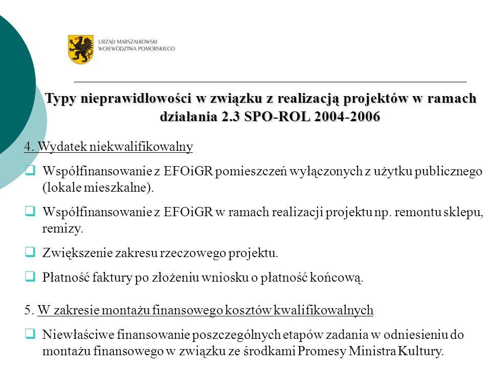Typy nieprawidłowości w związku z realizacją projektów w ramach działania 2.3 SPO-ROL 2004-2006 4.