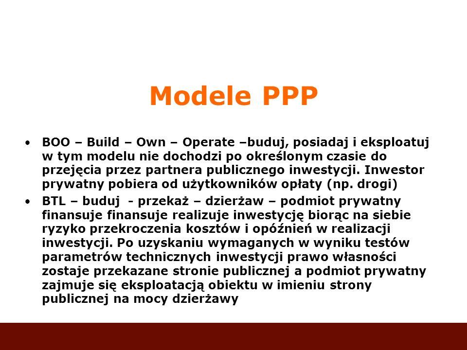 Modele PPP BOO – Build – Own – Operate –buduj, posiadaj i eksploatuj w tym modelu nie dochodzi po określonym czasie do przejęcia przez partnera public