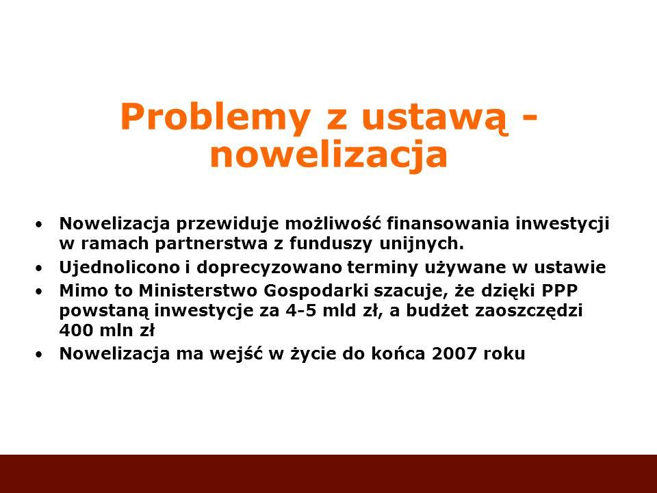 Problemy z ustawą - nowelizacja Nowelizacja przewiduje możliwość finansowania inwestycji w ramach partnerstwa z funduszy unijnych. Ujednolicono i dopr