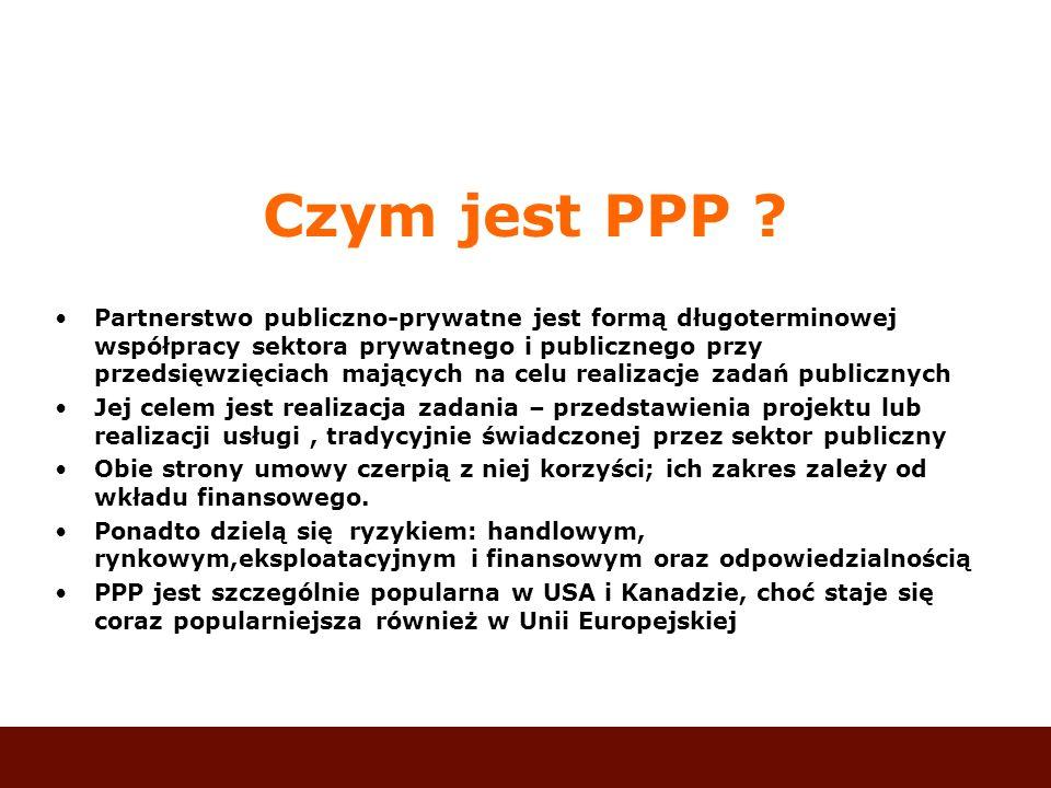 Czym jest PPP ? Partnerstwo publiczno-prywatne jest formą długoterminowej współpracy sektora prywatnego i publicznego przy przedsięwzięciach mających